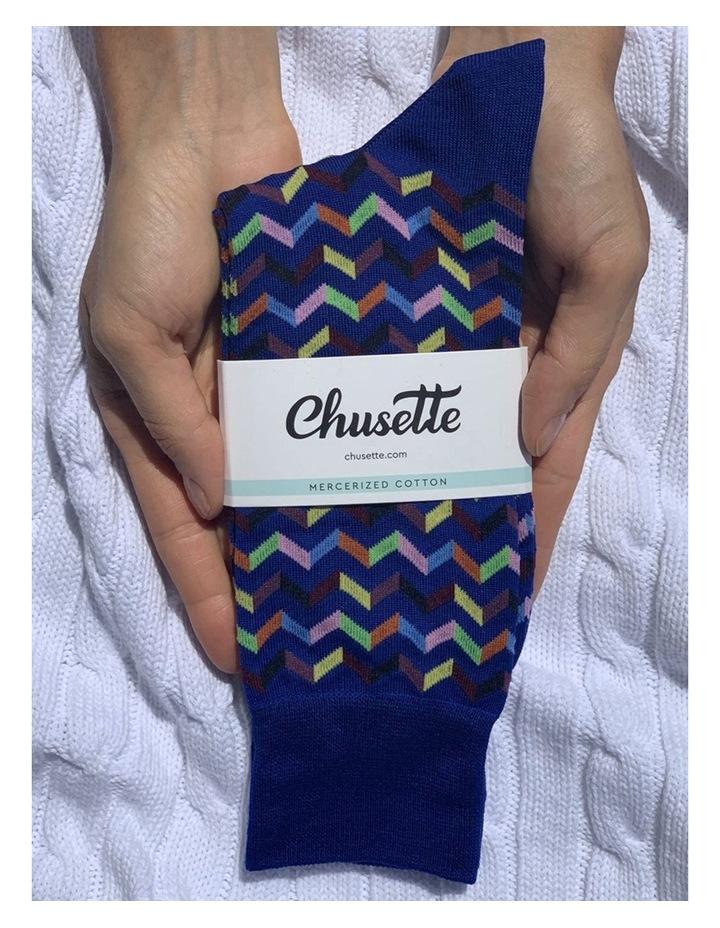 Men's Socks in Blue zigzag print image 2