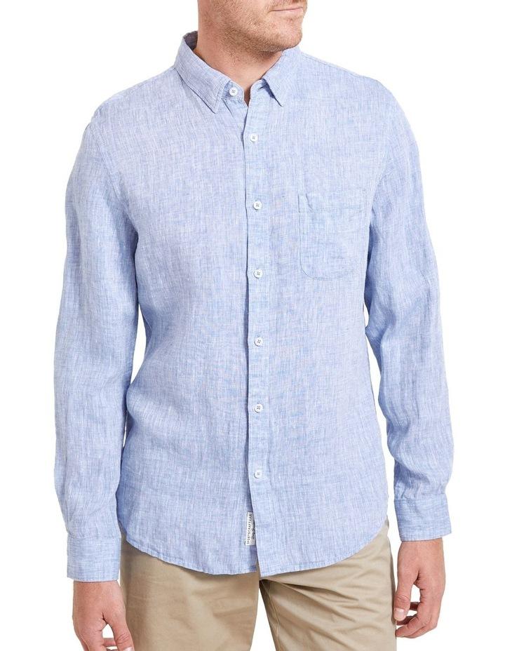 Long Sleeve Linen Yarn Dyed Shirt image 3