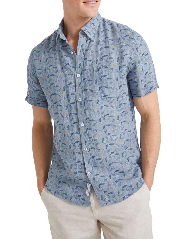 Short Sleeve Linen Print Shirt image 1