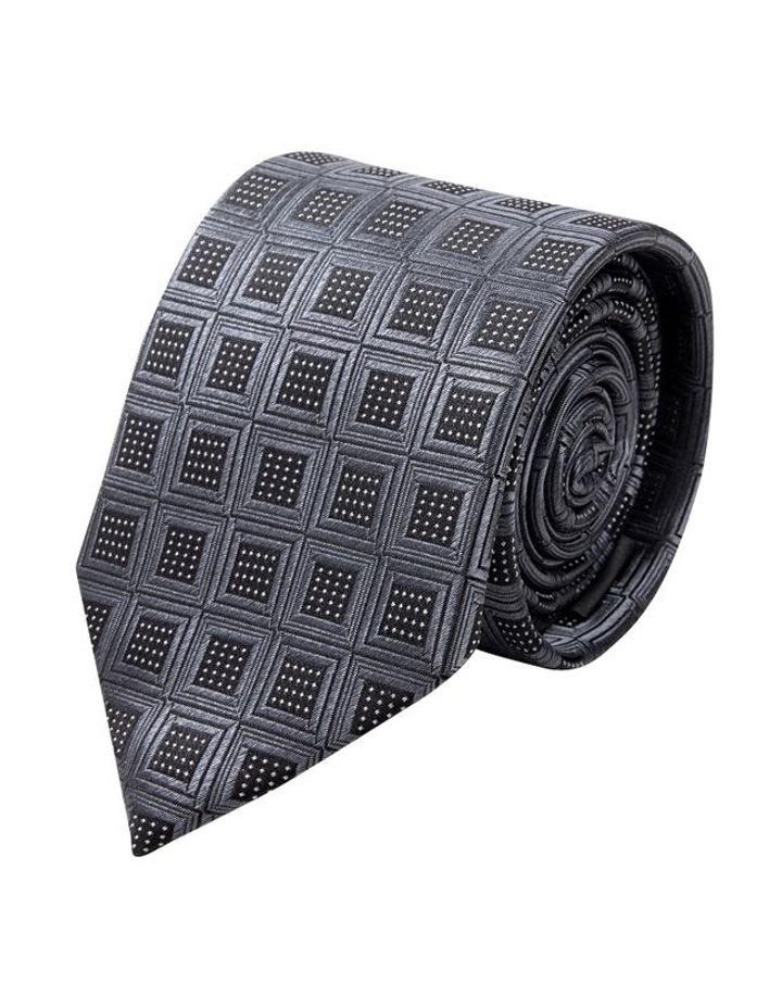 Black Reticolo Silk Tie image 1