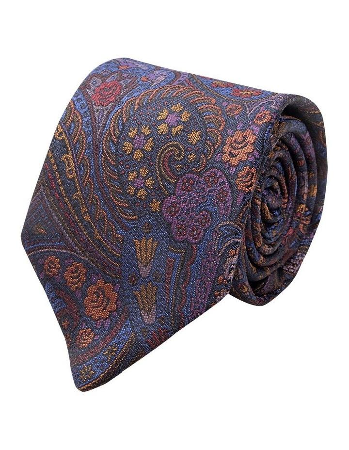 Navy Burano Paisley Silk Tie image 1