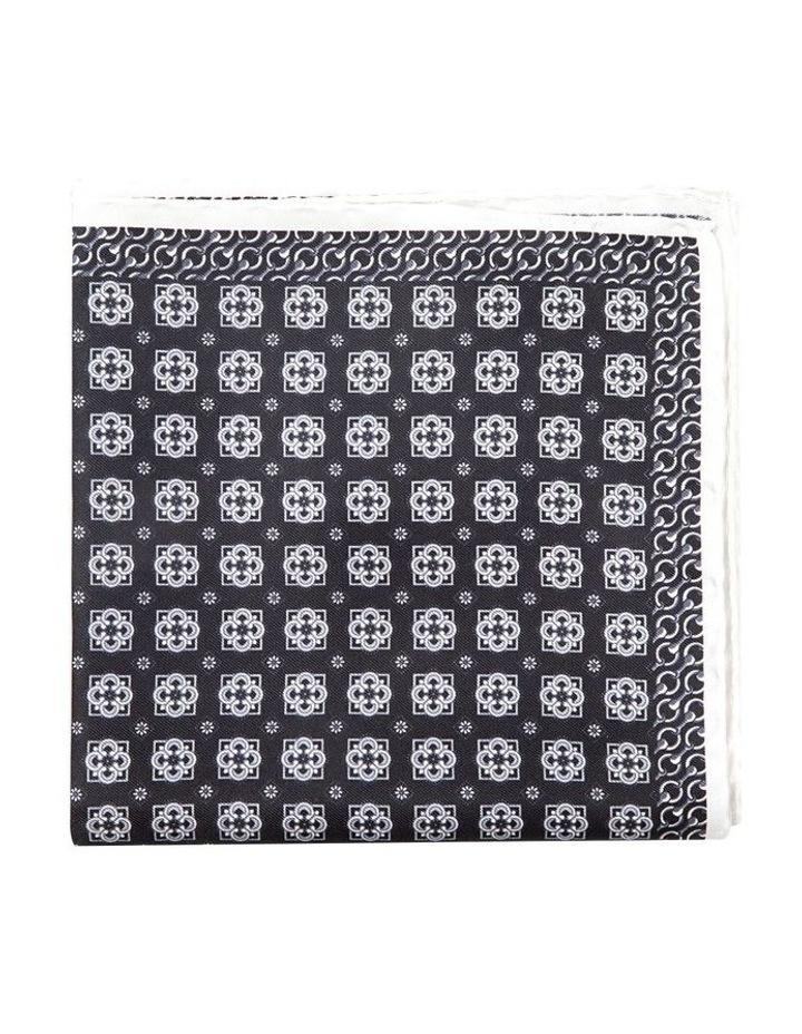 Black And White Falena Paisley Pocket Square image 1