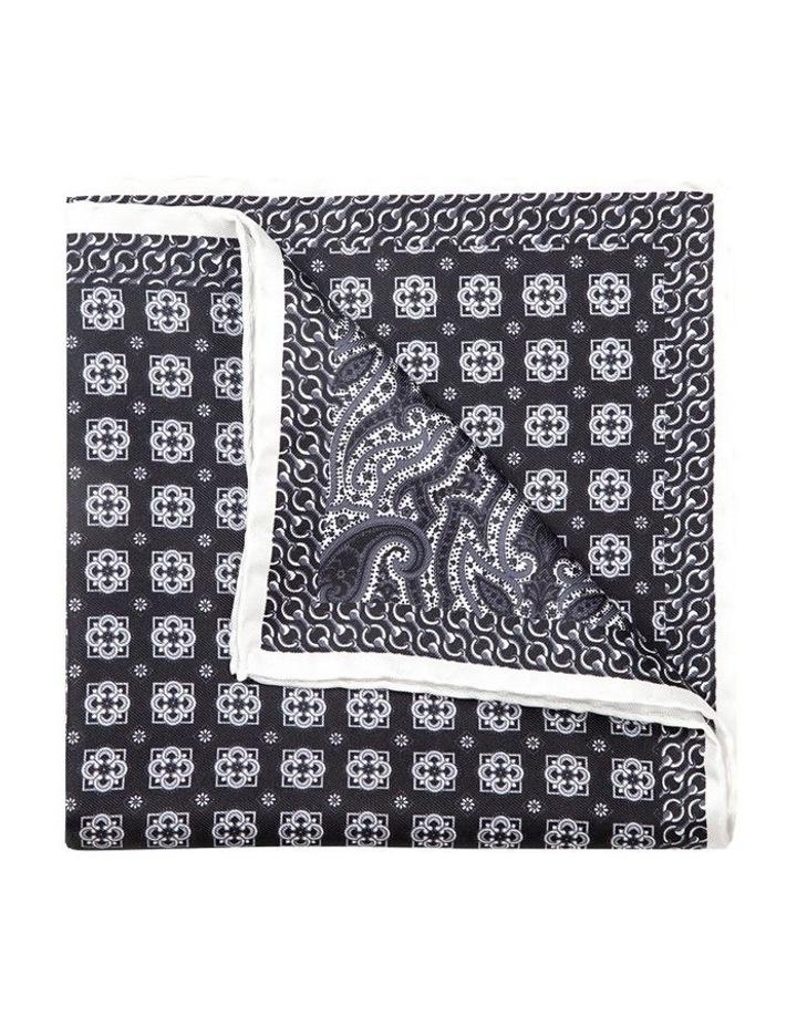 Black And White Falena Paisley Pocket Square image 2