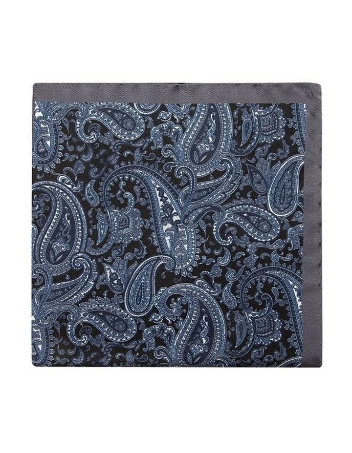 Grey Paisley Foulard Pocket Square image 1