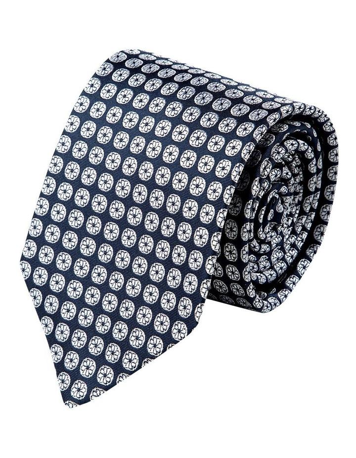 Pulito Foulard Silk Tie-Navy image 1