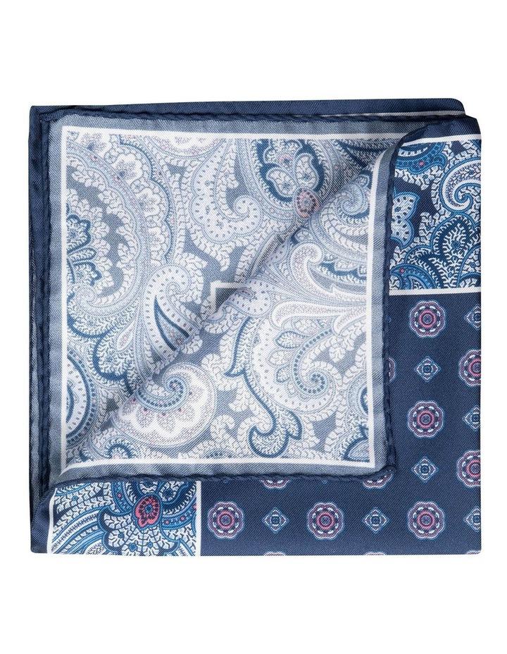 Paisley Edged Silk Pochette-Navy image 2