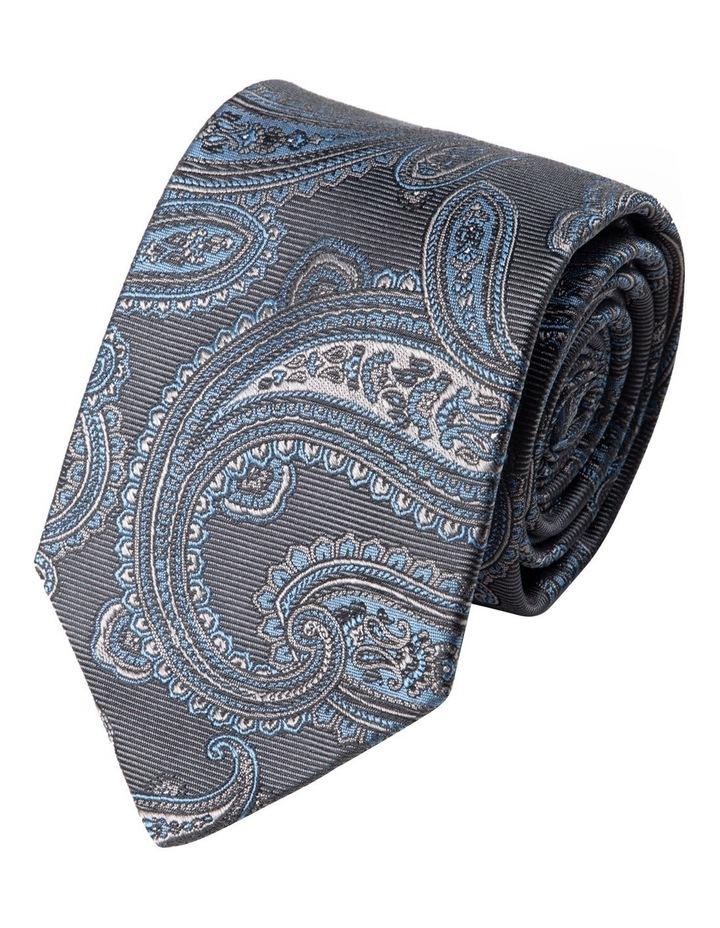 Matte Paisley Silk Tie-Grey image 1