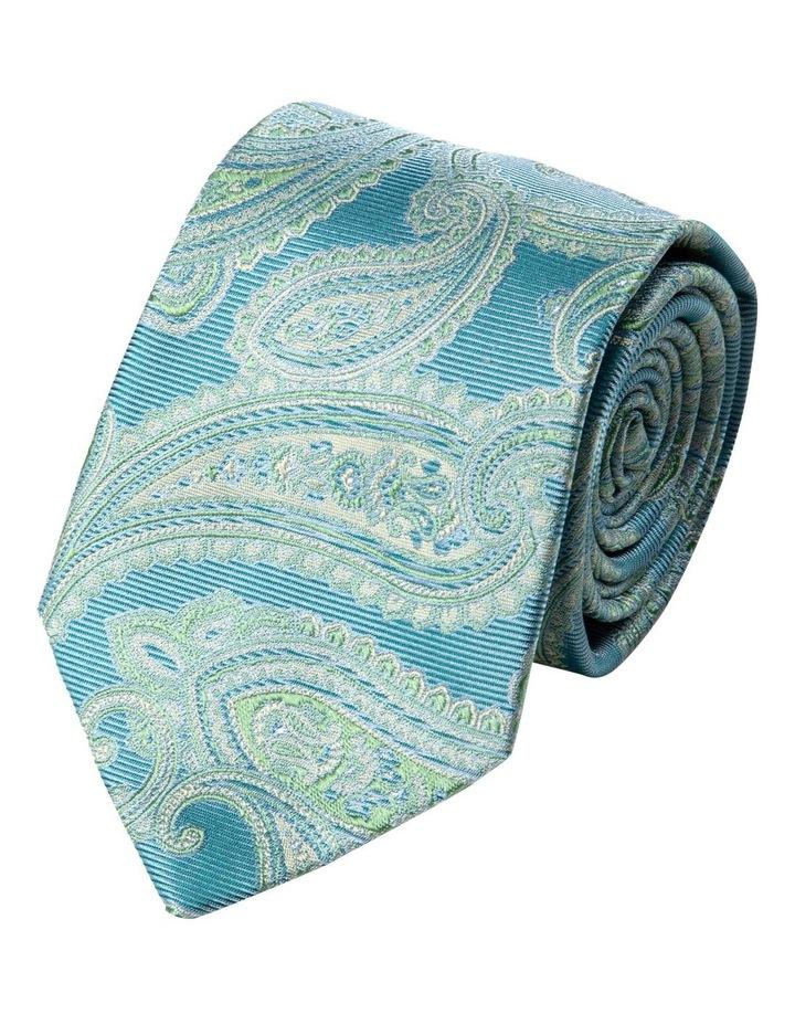 Matte Paisley Silk Tie-Turquoise image 1
