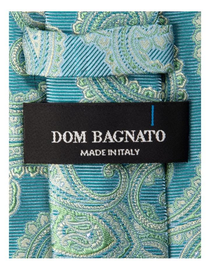 Matte Paisley Silk Tie-Turquoise image 2