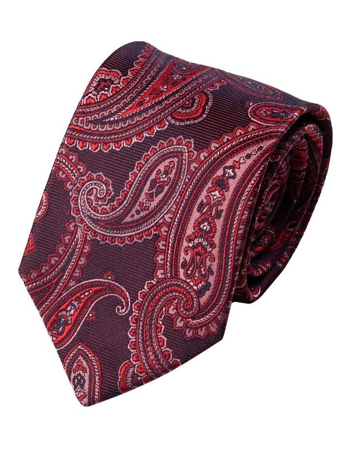 Matte Paisley Silk Tie-Wine image 1