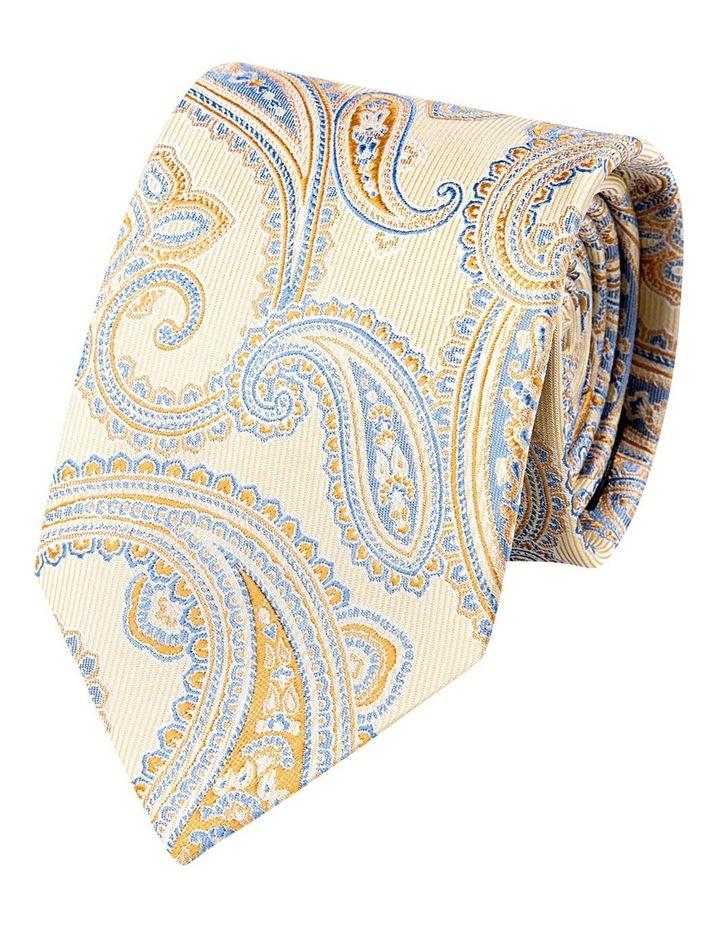 Matte Paisley Silk Tie-Yellow image 1