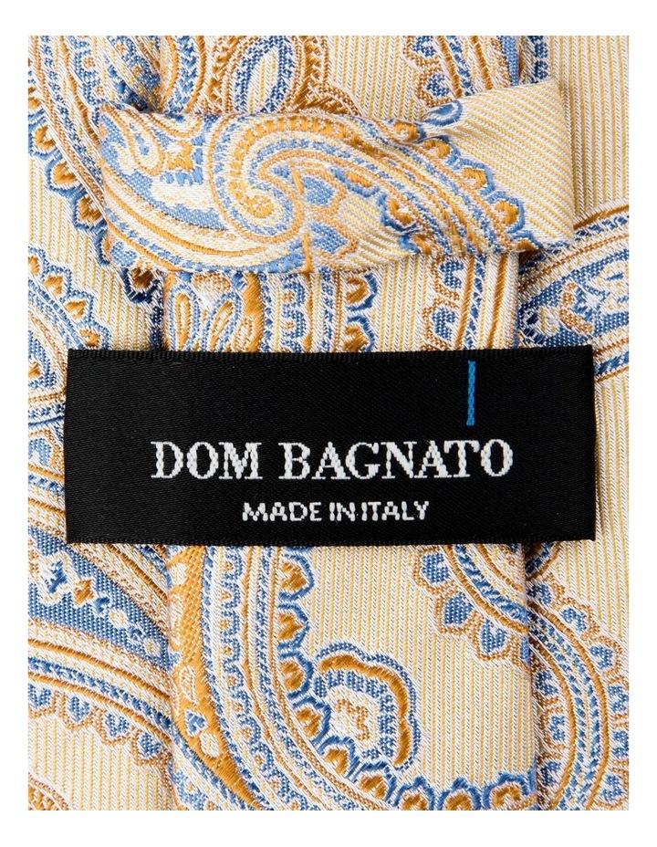 Matte Paisley Silk Tie-Yellow image 2