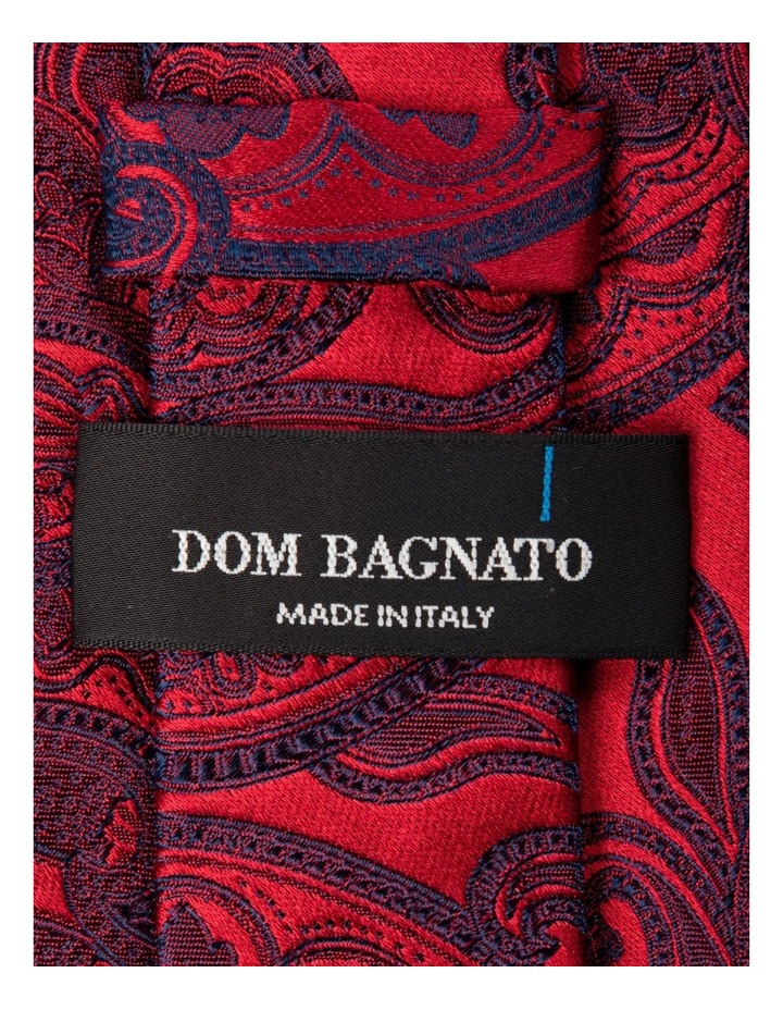 Incisione Paisley Silk Tie-Red image 2