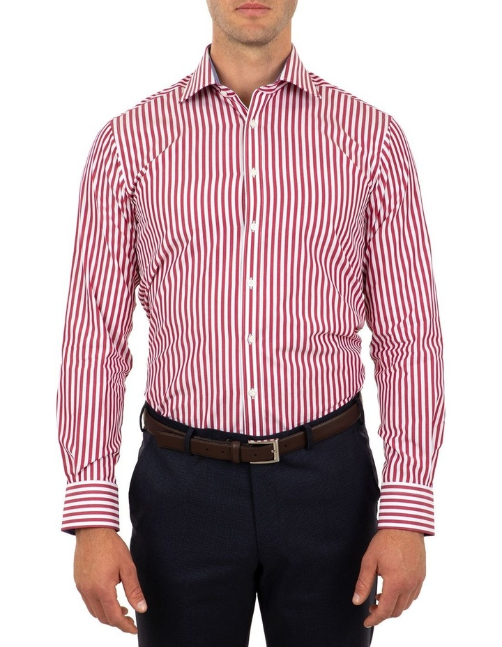 Tailored Fit Giorgio Red Banker Stripe Shirt image 1