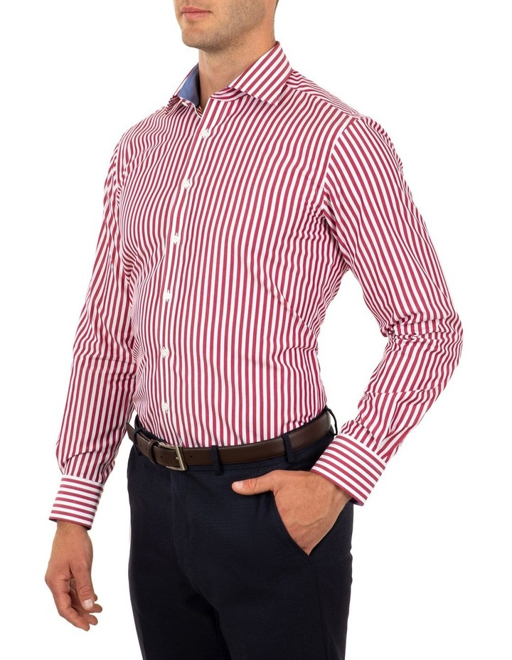 Tailored Fit Giorgio Red Banker Stripe Shirt image 3
