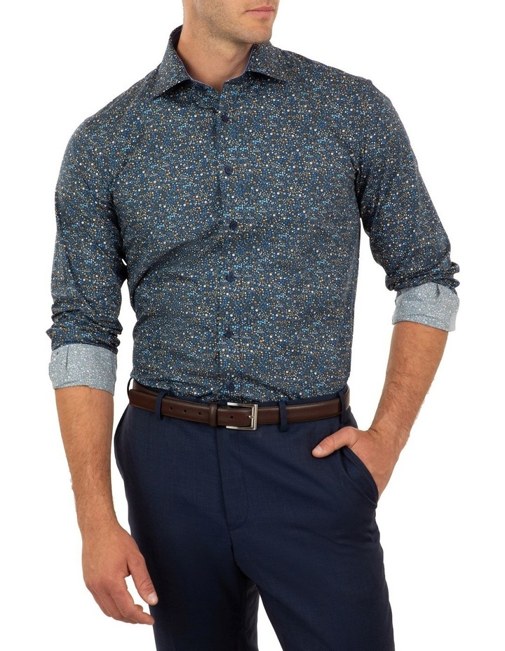 Tailored Fit Navy Giorgio Floral Print Shirt image 3