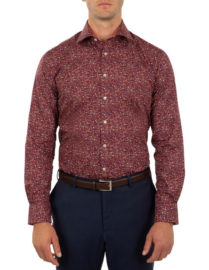 Tailored Fit Wine Giorgio Floral Print Shirt image 1
