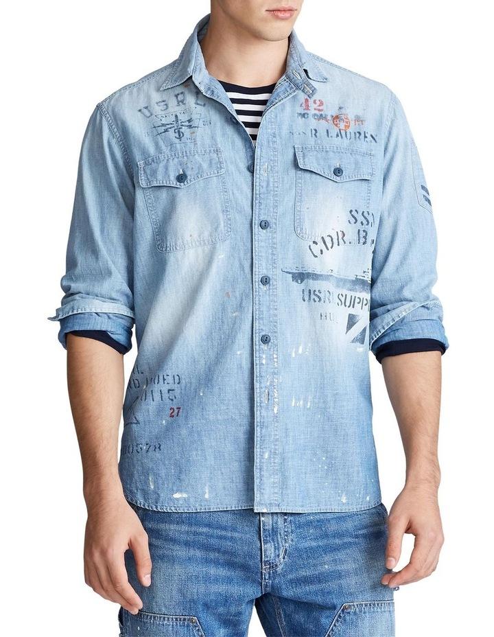 Stenciled Chambray Shirt image 1