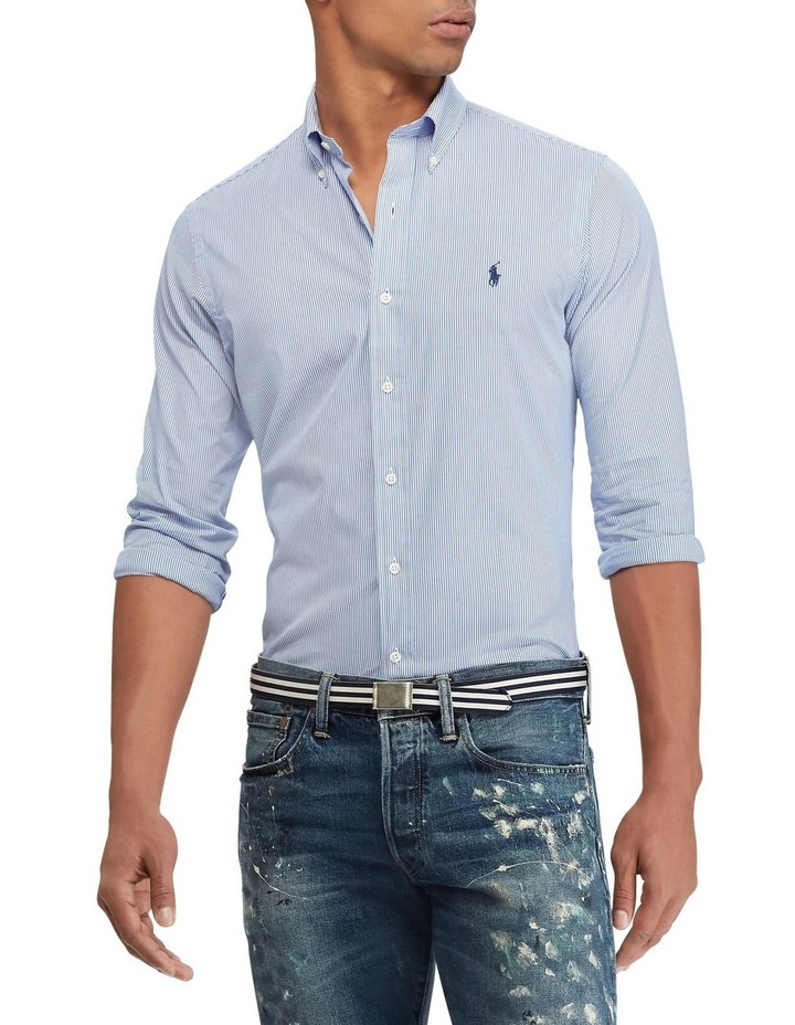 Slim Fit Striped Poplin Shirt image 1