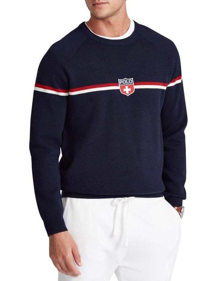 Shield-Patch Striped Wool Sweater image 1
