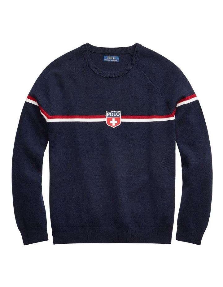 Shield-Patch Striped Wool Sweater image 3