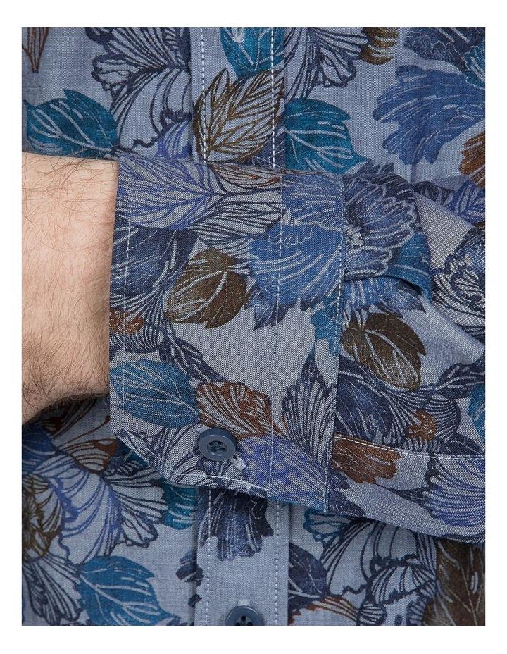 Denim Floral Print Cotton Flame Shirt image 4