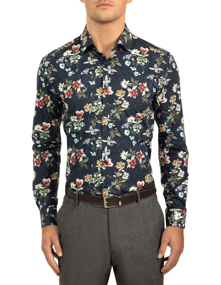 Slim Fit Denim Floral Print Motion Shirt image 1
