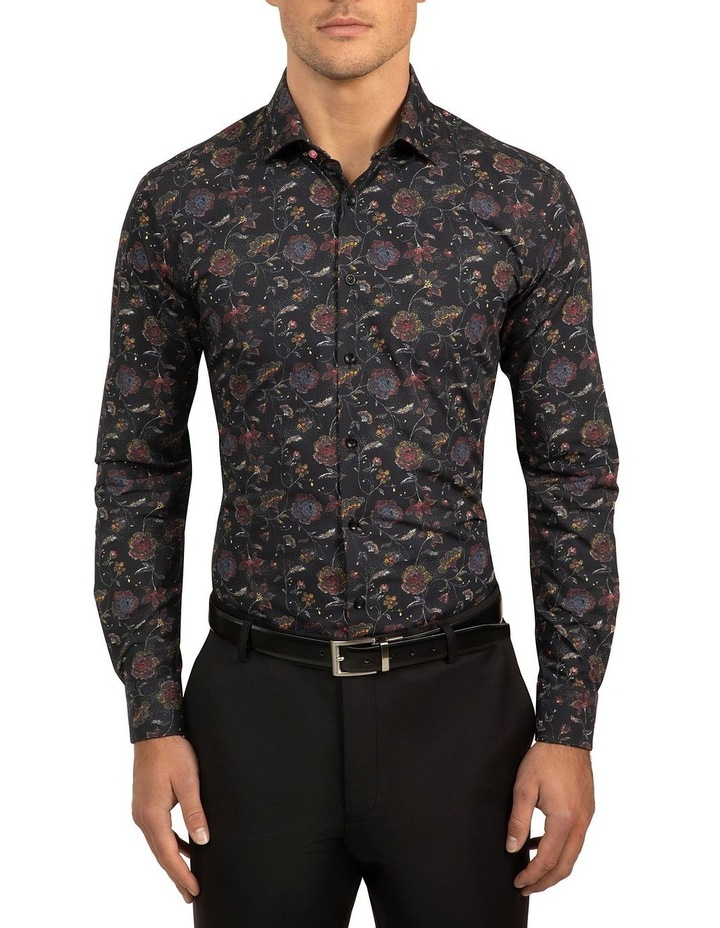 Black Slim Fit Flame Shirt image 1