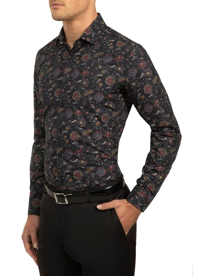 Black Slim Fit Flame Shirt image 2
