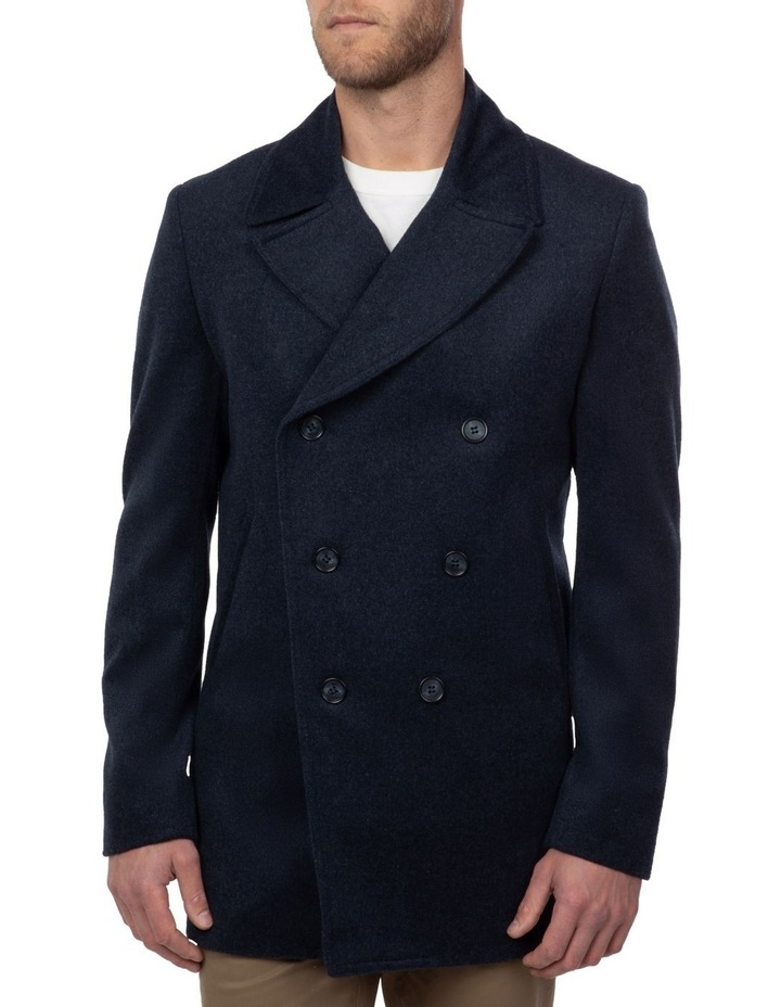 Blue Double Breasted Spark Overcoat FGJ640 image 1