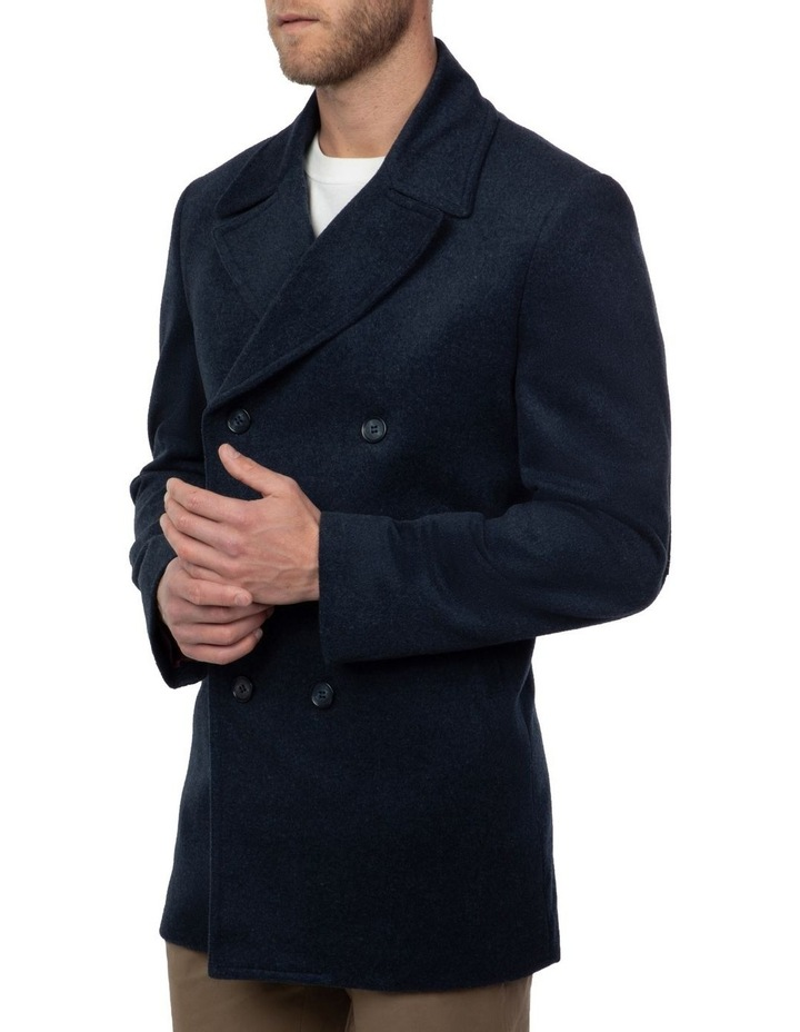 Blue Double Breasted Spark Overcoat FGJ640 image 2