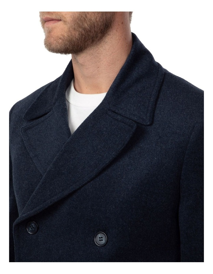 Blue Double Breasted Spark Overcoat FGJ640 image 4