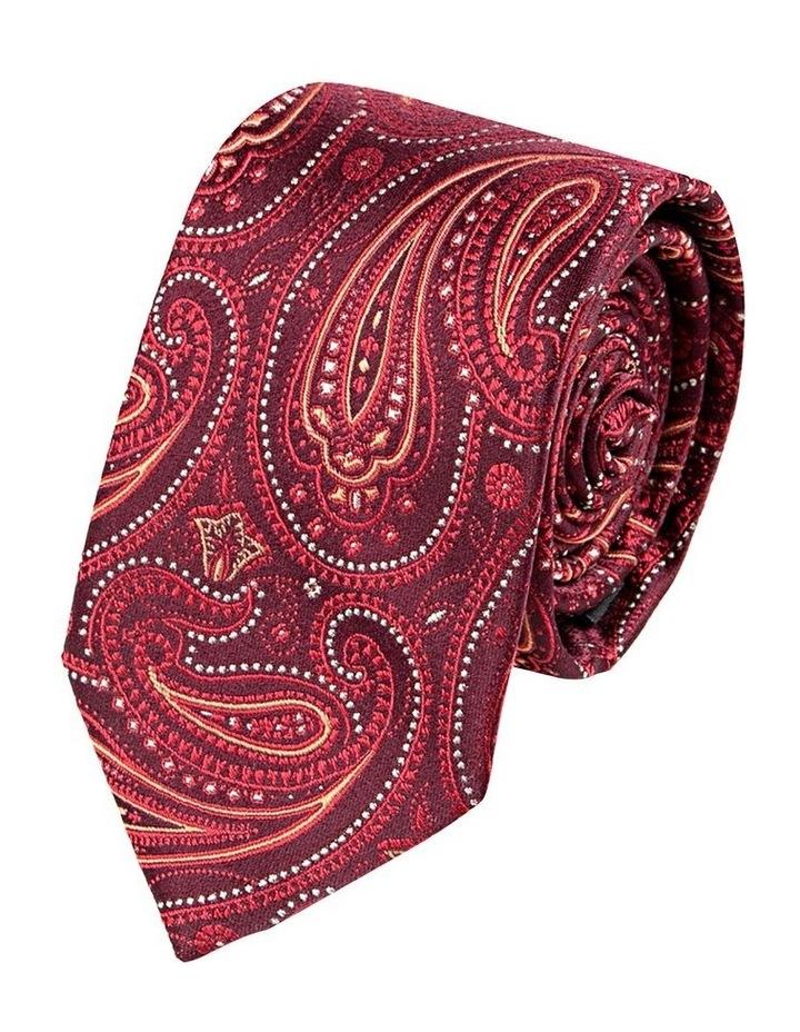 Wine Pindot Paisley Silk Tie image 1
