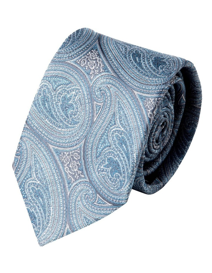 Slim Blue Matte Paisley Silk Tie-Sky image 1