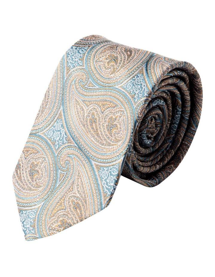 Slim Matte Paisley Silk Tie-Taupe image 1