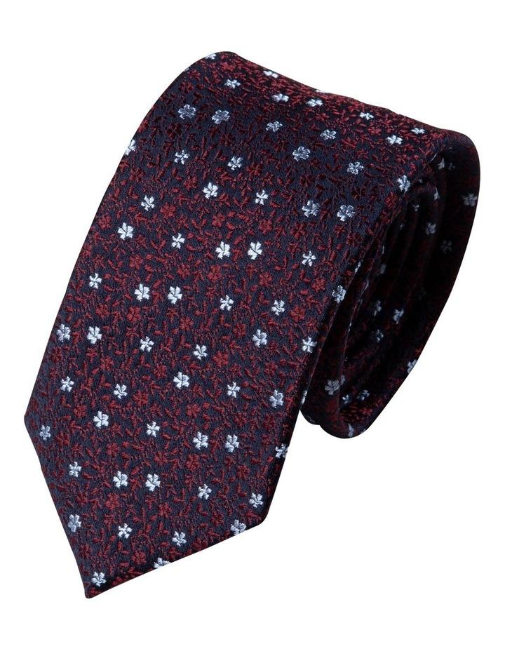 Slim Micro Floral Silk Tie-Wine image 1