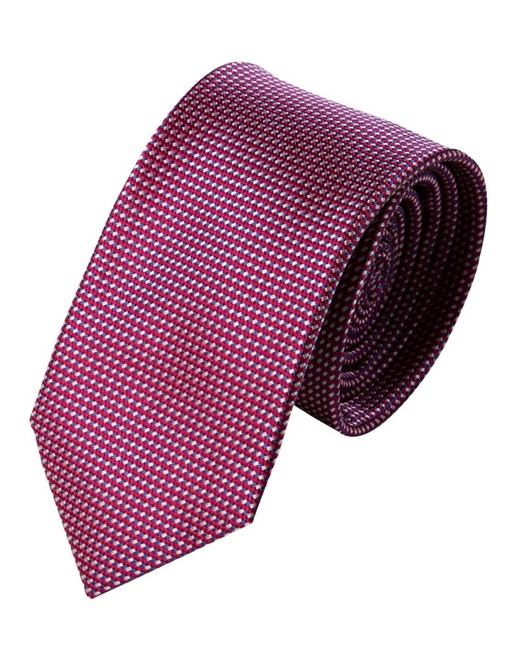 Slim Triple Weave Silk Tie-Red image 1