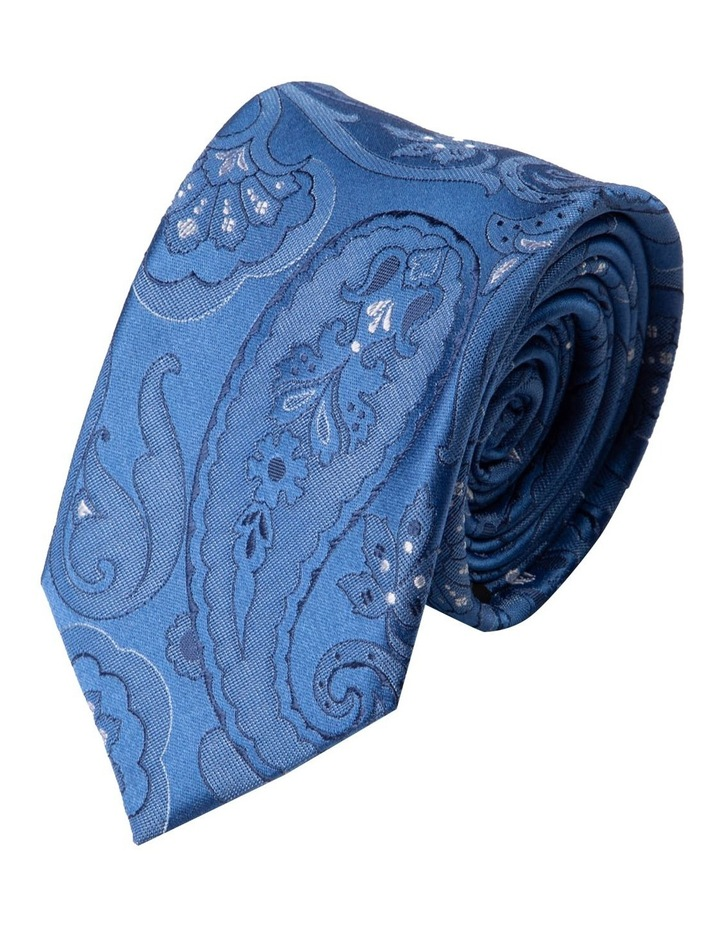 Slim Big Paisley Silk Tie- Blue image 1
