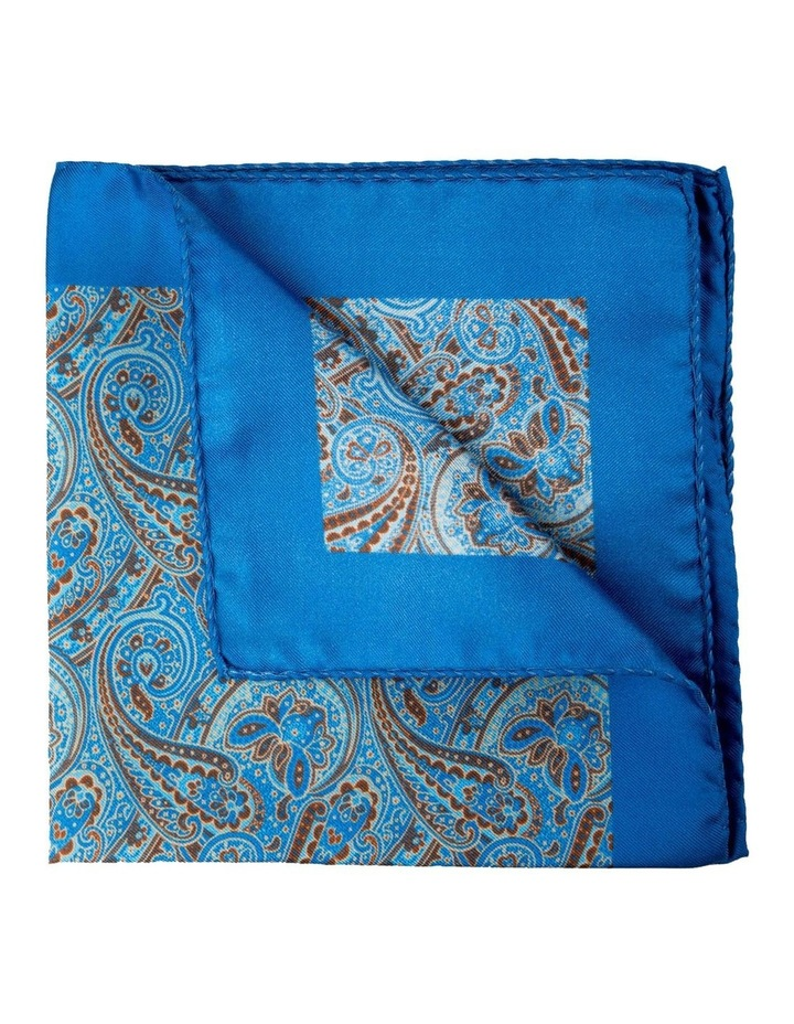 Paisley Silk Pocket Square-Blue image 2