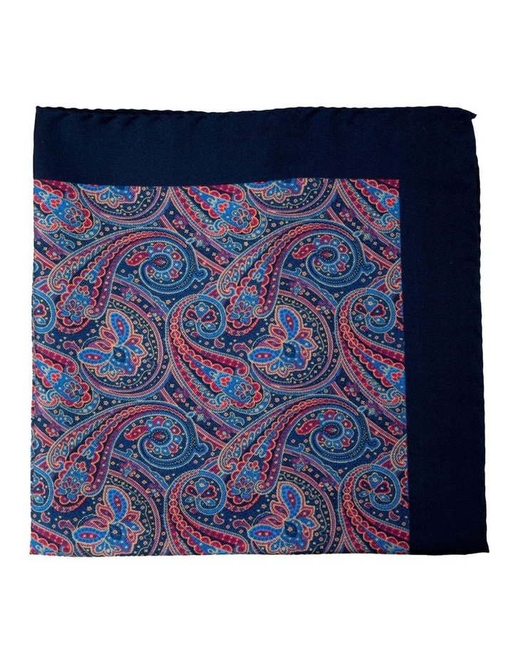 Paisley Silk Pocket Square-Navy image 1
