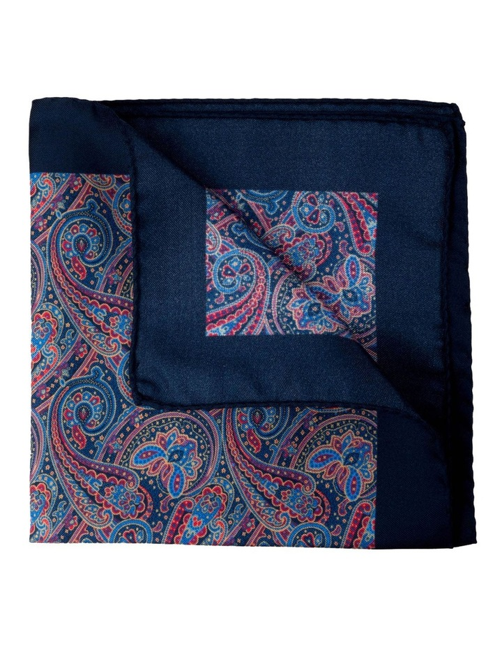 Paisley Silk Pocket Square-Navy image 2