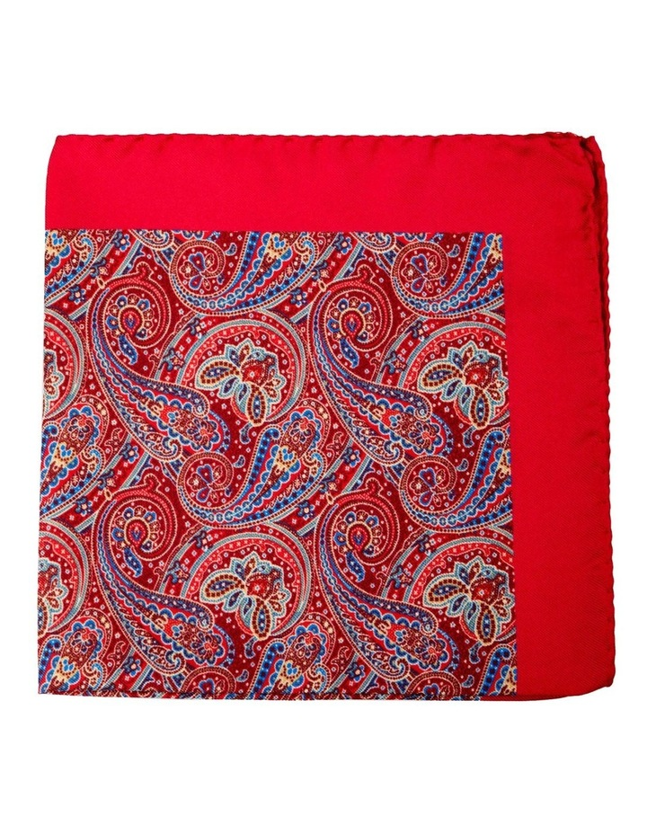 Paisley Silk Pocket Square-Red image 1