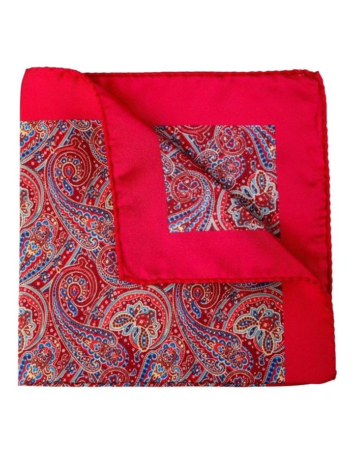 Paisley Silk Pocket Square-Red image 2