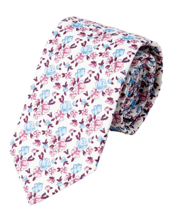 Slim Neat Floral Cotton Tie-Berry image 1