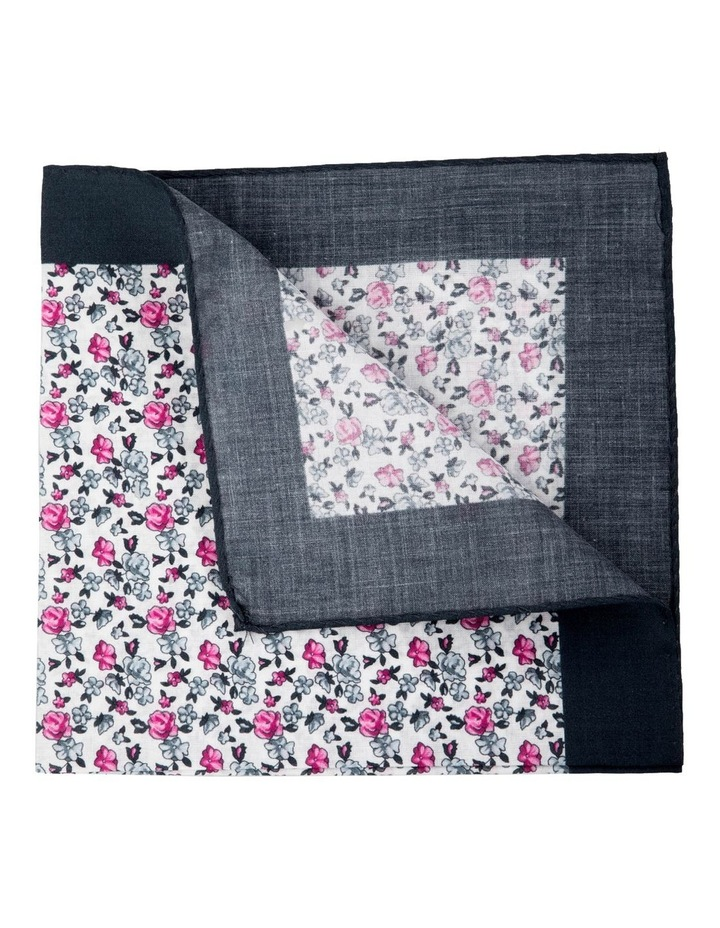 Neat Floral Cotton Pocket Square-Grey image 2