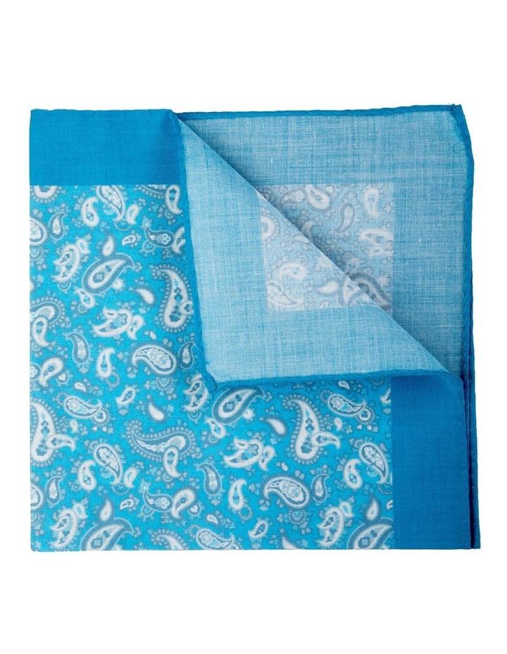 Retro Paisley Cotton Pocket Square-Turquoise image 2