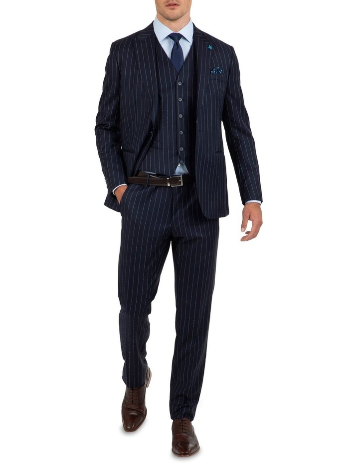 Slim Fit Caper Slub Stripe Wool Trouser FGK643 image 5