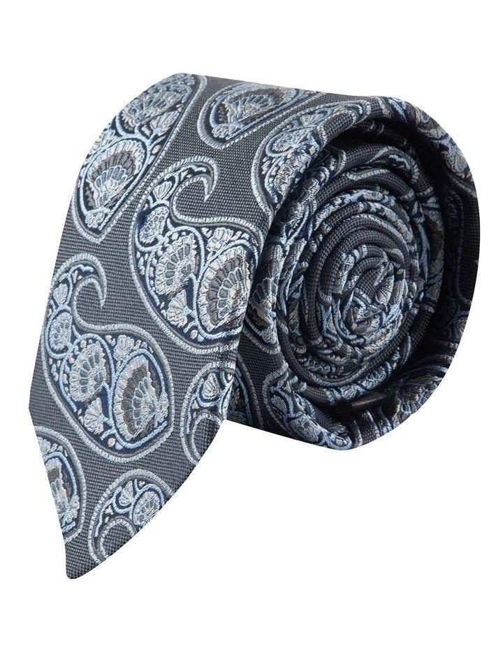 Grey Deco Paisley 6.5cm Silk Tie image 1