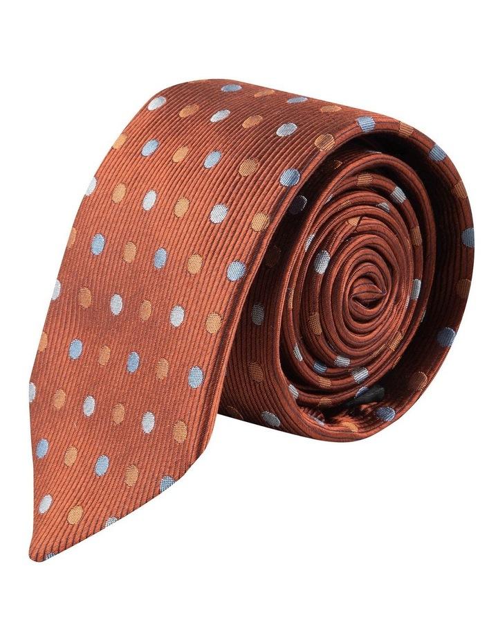 Cognac Multi Polkadot 6.5cm Silk Tie image 1