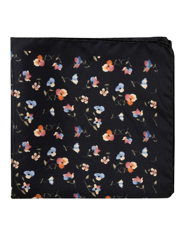 Black Viola Silk Twill Pocket Square image 1